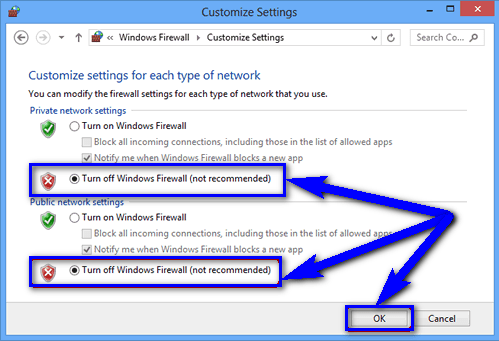 Turn Off or Disable Windows Firewall Settings ERR_EMPTY_RESPONSE