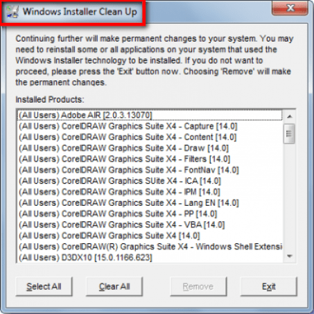 By Windows installer Cleanup Utility