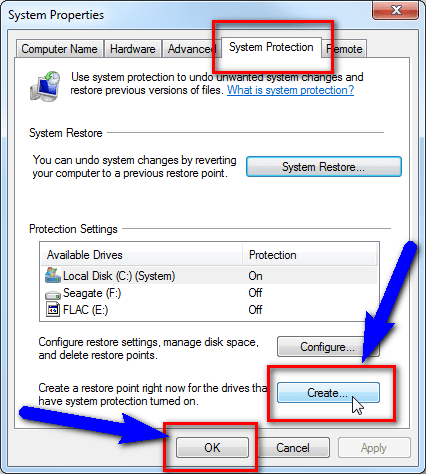 Create Restore Point The Application was Unable to Start Correctly