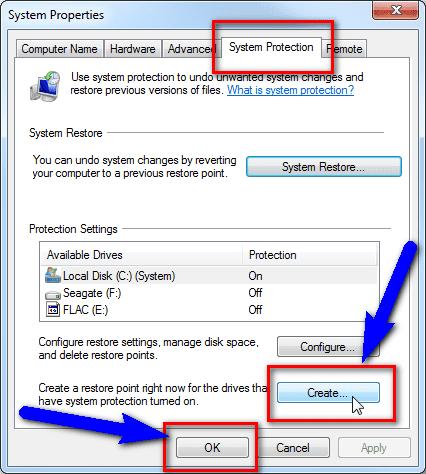 Create Restore Point SSL Connection Error