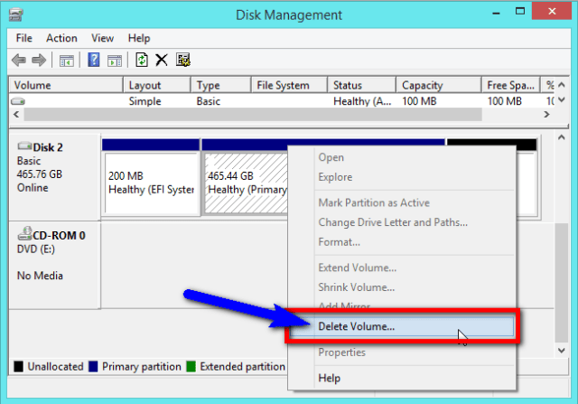 how to delete efi with a cmd line