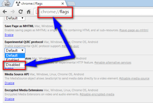 Disable Google Chrome QUIC Protocol