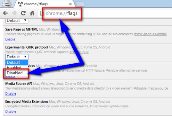 Disable Google Chrome QUIC Protocol