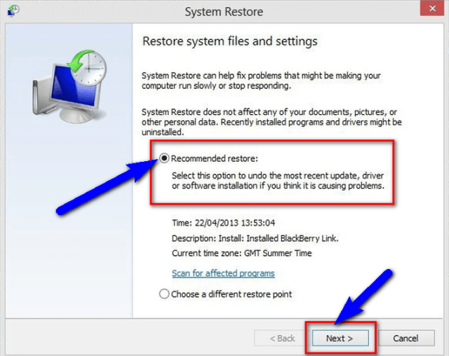 Fix System Restore Features BAD_SYSTEM_CONFIG_INFO