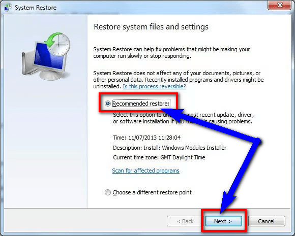 Undo recent System changes by System Restore 0x000000EF