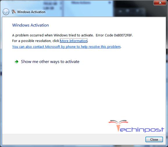Error Code 0x80072F8F