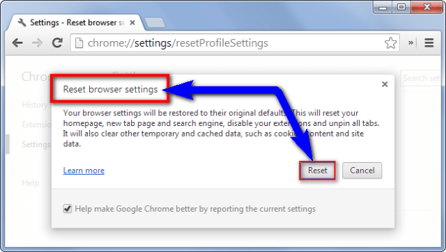 Reset your Browser Settings ERR_NETWORK_ACCESS_DENIED
