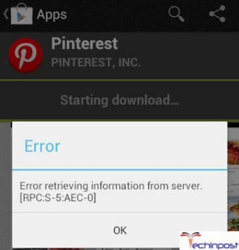 Google Play Store Error Retrieving Information from Server