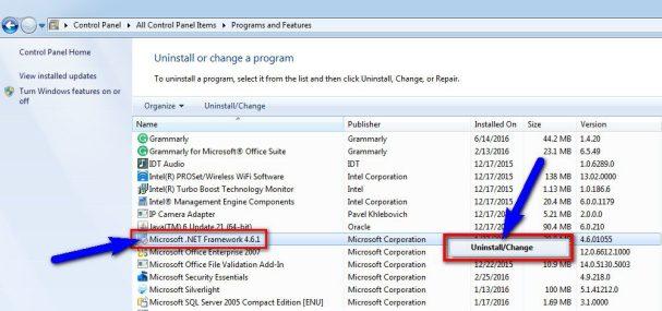 Uninstall Microsoft.NET Framework