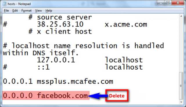 Fix by Deleting the line in Hosts File