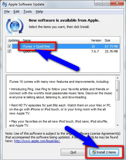 Update iTunes Software