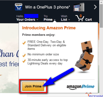 "Now, click on the 'Try Prime"" there"