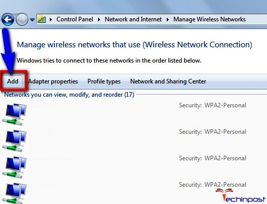 "Click on ""Add"" to manually connect to a wireless network"