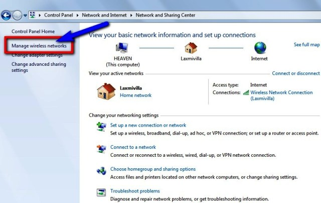 """Click on """"Manage Wireless Networks"""" option on the left-side"""