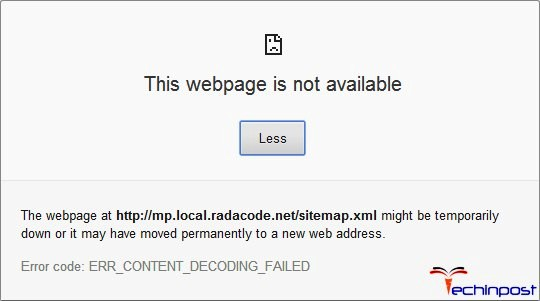 fixed net err content decoding failed chrome error code issue