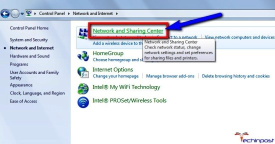 Click on the Network and Sharing Center option there