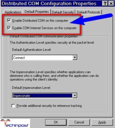Enable the DCOM (Distributed COM)