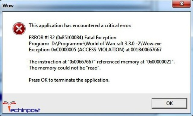 Fixed Wow Error 132 Fatal Exception Windows Pc Code Issue