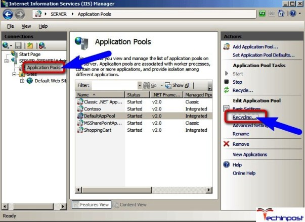 Configure the Application Pool to Recycling