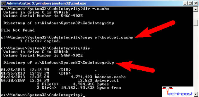 Delete the Bootcat.Cache on your Windows PC
