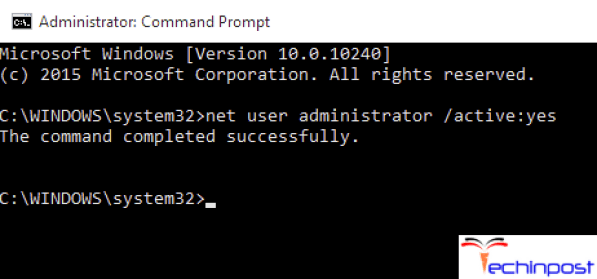 Enabling Administrator Account from CMD (Command Prompt)