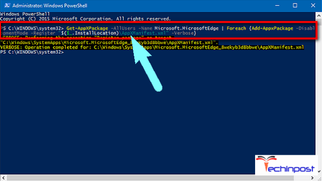 Reinstall Microsoft Edge Browser & Run Powershell Command UNEXPECTED_STORE_EXCEPTION