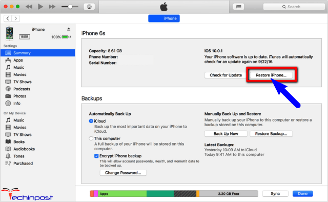 Restore Old Backup from iTunes