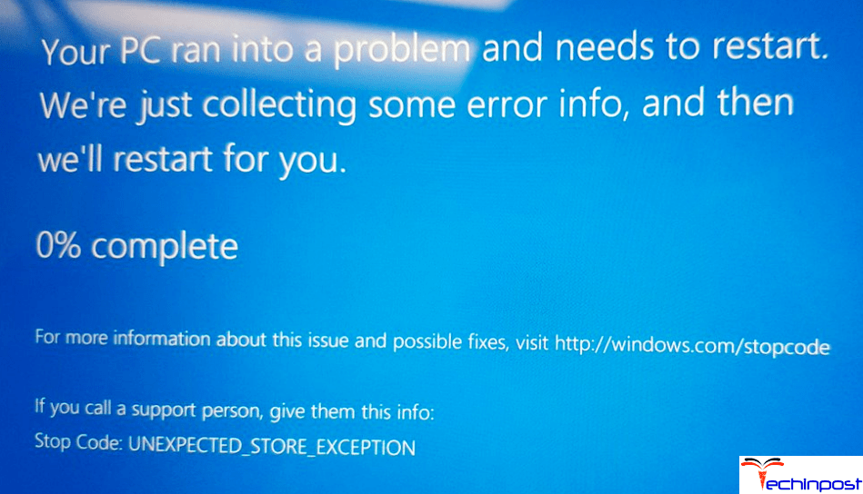 FIXED] UNEXPECTED STORE EXCEPTION Windows Stop Code BSOD PC Error