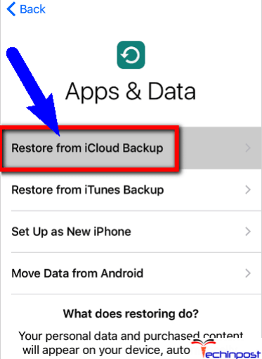 Use iCloud & Restore from your iCloud Backup