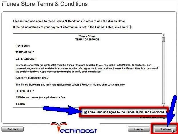 Check & Accept iTunes Terms and Conditions