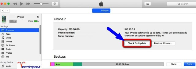 Update your iPhone Device by using the iTunes Could Not Activate Cellular Data Network