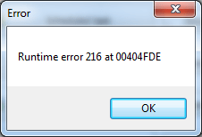 Runtime Error 216