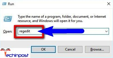 Open Run dialog. Then type Regedit and click OK This App Can't Open