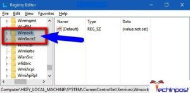 Fixing Windows Sockets Entries in Registry Editor