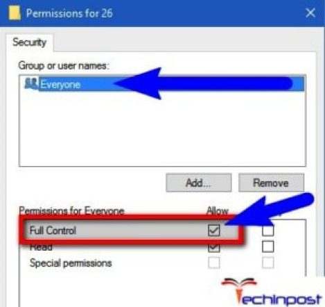 """Select Everyone from the user names list and enable """"Allow"""" check box given for """"Full Control"""" permission"""