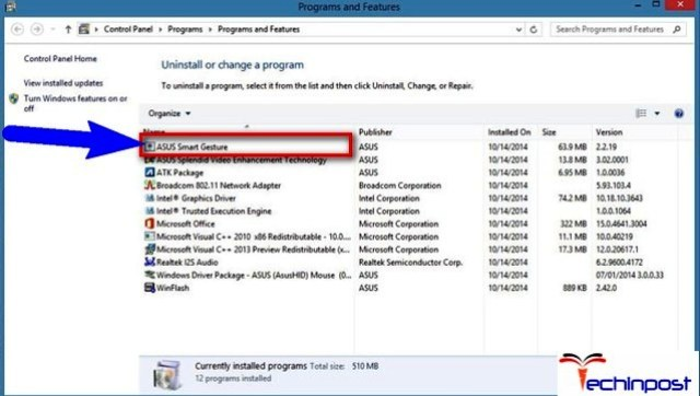 move over to Programs and Features and select Uninstall or change a program