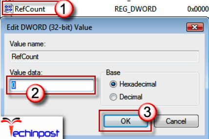 Click on the folder without the.bakextension in the detailed pane and double-click on theRefCount. Type0 in Value data, and clickOK