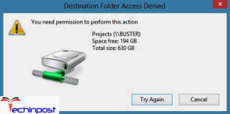 Destination Folder Access Denied