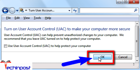 Disabling the User Account Control