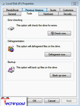 Navigate toToolsand click onCheck now an option under theError-checking