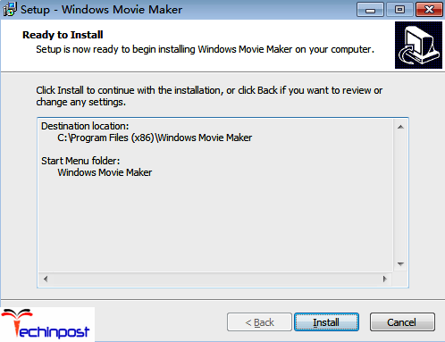 Now select the destination folder for installing the Windows Movie Maker
