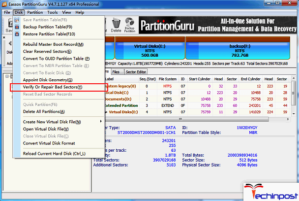 Check the Bad Sector of the Partitions