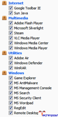 Inside the 'Cleaner' section, below the Windows tab, check all the following things for cleaning