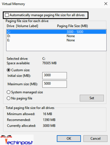 "Now uncheck the option ""Automatically manage paging file size for all "" Now highlight the system drive under the Paging file size. Then set some proper values in the fields under the Custom size option. Remember not to choose the No paging file option"