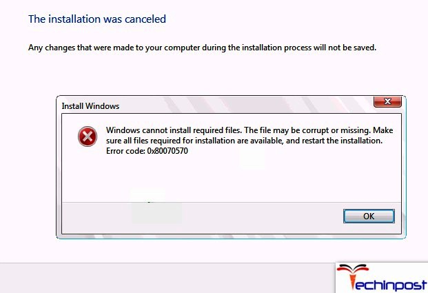 Windows Cannot Install Required Files