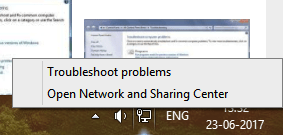 For Windows 7, open Network troubleshooter by right-clicking on the network icon from the notification bar and then select the Troubleshoot problems option