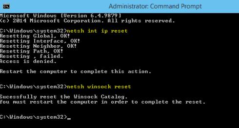 netsh Winsock reset(Enter) netsh int ip reset