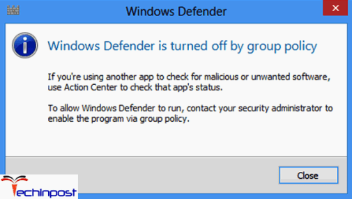 Windows Defender Turned OFF by Group Policy