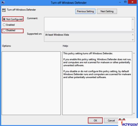 Enabling Windows Defender in Group Policy
