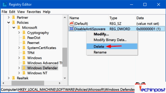 By using Registry Editor
